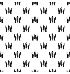 Hands and ear of wheat pattern simple style vector image