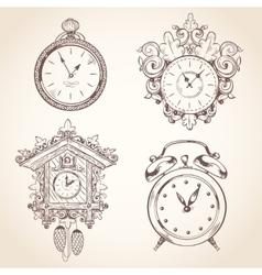 Old vintage clock set vector image