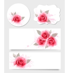 Set of gift cards and banners with beautiful vector image vector image