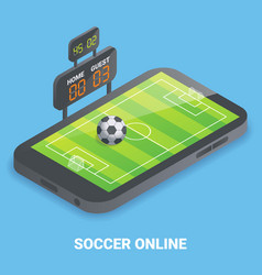 soccer online concept flat isometric vector image vector image