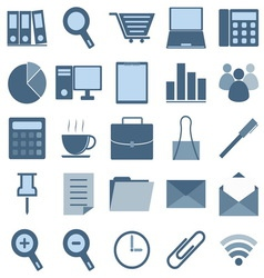 Blue office icons on white background vector image vector image