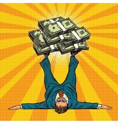 Businessman athlete holds a lot of money on legs vector image vector image