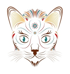 colorful abstract cat head vector image