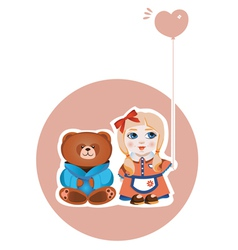 girl and bear vector image vector image