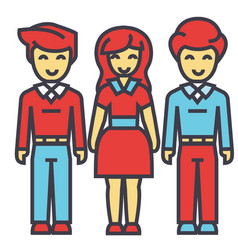 Man and woman in full body concept line vector