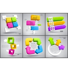 Set of colorful cubes with arrows 3D vector image vector image