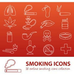 smoking outline icons vector image vector image