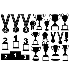 Trophies and medals set vector image vector image
