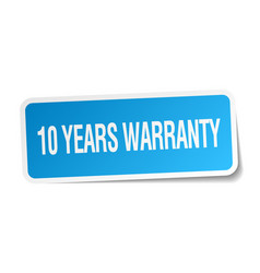 10 years warranty blue square sticker vector