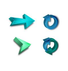 3d set collection arrows colors vector image