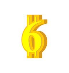 6 numeral bitcoin font six numeric crypto vector image