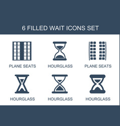 6 wait icons vector