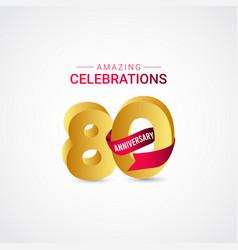 80 years anniversary amazing celebration gold vector