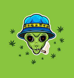 alien with jamb alien smoking weed poster vector image