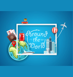 around the world concept with different vector image