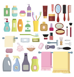beauty care related object set hygiene symbols vector image