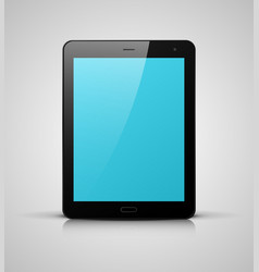 Black tablet pc with blue screen vector