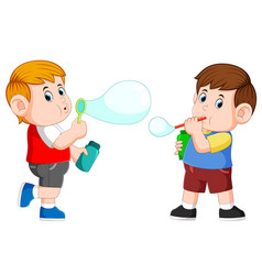 Boy playing with bubble soap and blow it vector