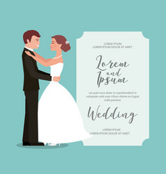 bride and groom their first dance wedding card vector image