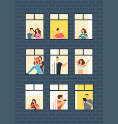 Cartoon man and woman neighbors in apartment vector