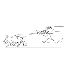 cartoon of hunter with scoped rifle hunting wild vector image