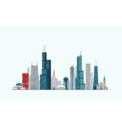 Chicago colorful skyline vector