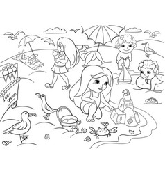children swimming at the beach and play with toys vector image