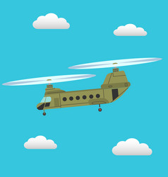 Chinook transport helicopter flying in sky vector