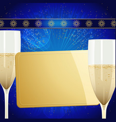 Christmas gift golden card and champagne glasses vector