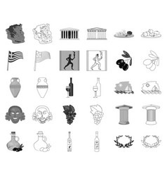 Country greece monochromeoutline icons in set vector