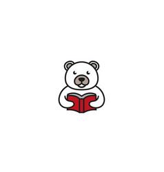 creative white bear reading book logo design vector image