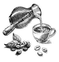 Cup turk and coffee beans vector