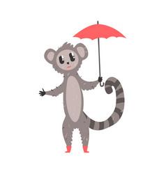Cute cartoon lemur with red umbrella african vector
