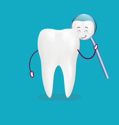 cute cartoon tooth with inspection mirror isolated vector image