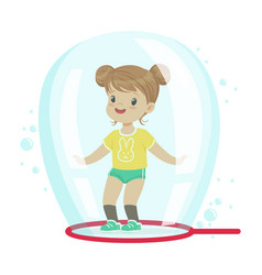 Cute little girl standing inside soap bubble vector