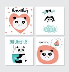 cute panda card set - isolated cartoon animal with vector image