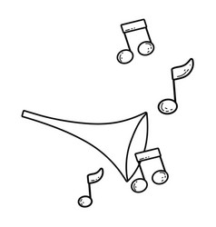 cute trumpet with music notes vector image