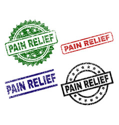 damaged textured pain relief stamp seals vector image