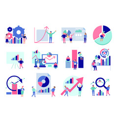 data analysis flat set vector image