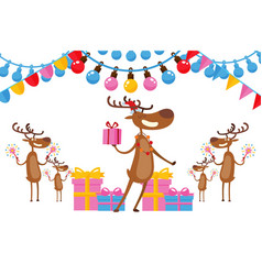 deers celebrate new year in friendly company vector image