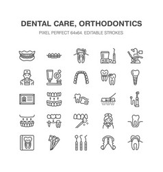 Dentist orthodontics line icons dental equipment vector