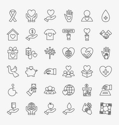 Donation volunteer line icons set vector