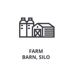 farm barn silo line icon outline sign linear vector image
