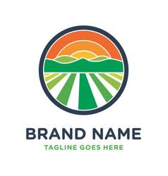 farm hill circle logo design vector image