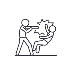 fight line icon concept fight linear vector image