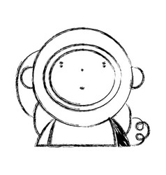 Figure nice astronaut with equipment to kawaii vector