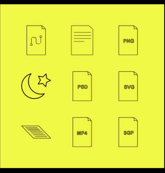 files and folders linear icon set simple outline vector image