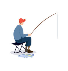 Fisherman sitting on folding chair male fisher vector