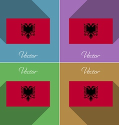 Flags Albania Set of colors flat design and long vector