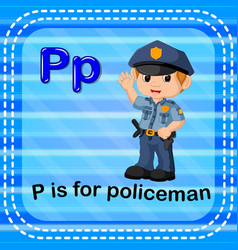 flashcard letter p is for policeman vector image